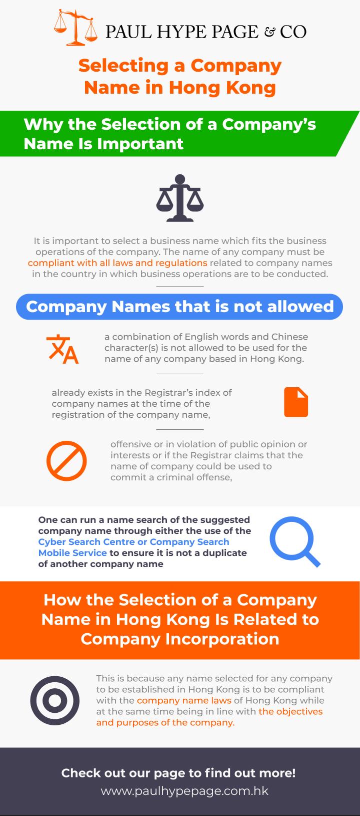 Selecting a Hong Kong Company Name